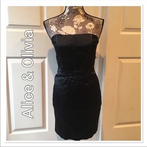 Alice & Olivia Strapless Black Mini Dress